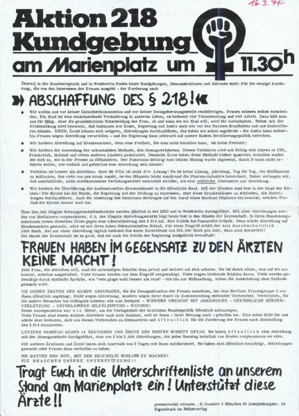 Aufruf zur Kundgebung am Marienplatz im Jahr 1974