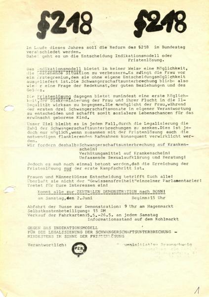 Flugblatt aus dem Jahr 1973